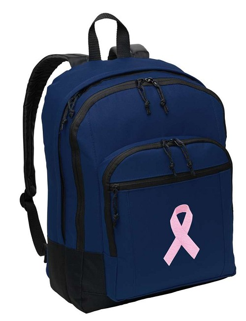 Pink Ribbon Backpack Navy Blue