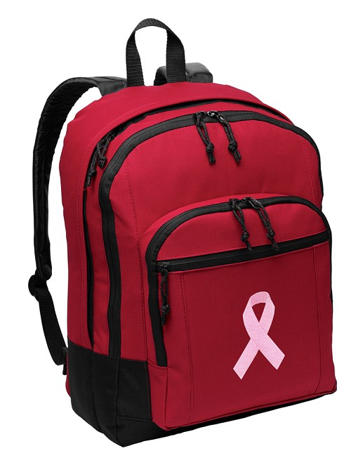 Pink Ribbon Backpack Red