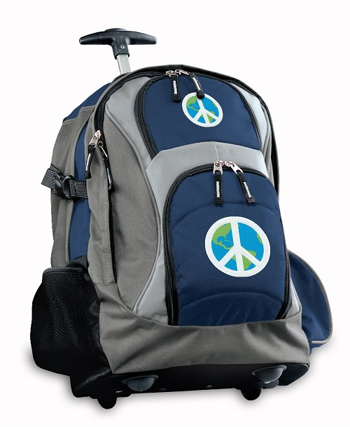 Peace Sign Rolling Backpack Deluxe Navy