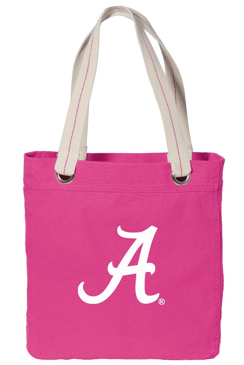 University of Alabama Canvas Tote Bag Hot Pink