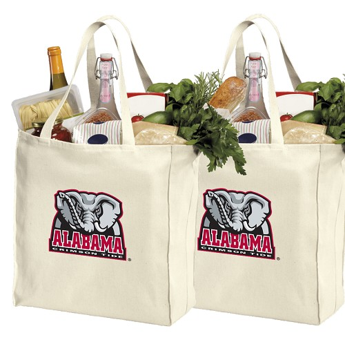 Alabama Cotton Shopping Grocery Bags 2 PC SET