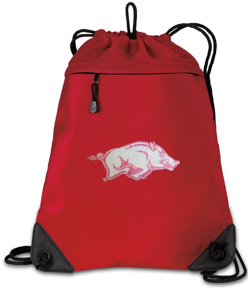 University of Arkansas Drawstring Bag Backpack Red