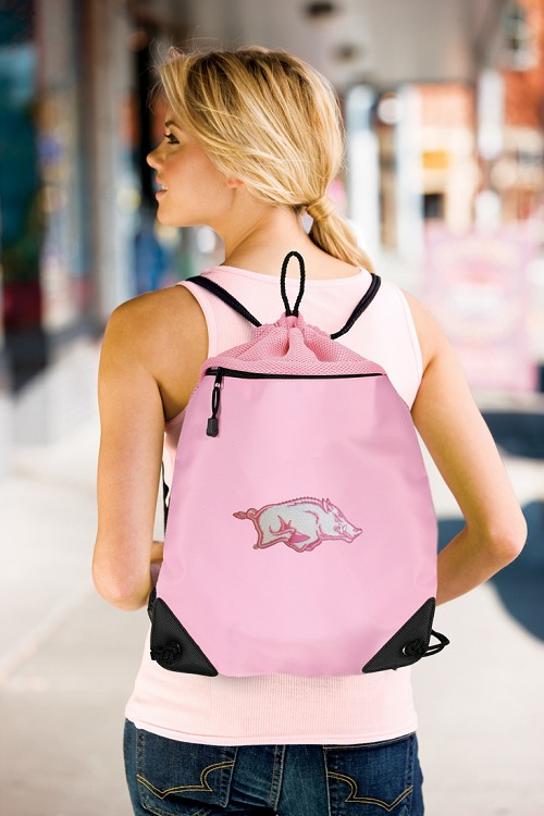 Arkansas Razorbacks Ladies Drawstring Bag Mesh & Microfiber