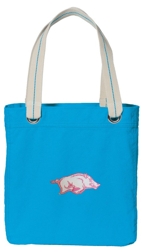 University of Arkansas NEON BLUE Cotton Tote Bag Pink Razorback Logo