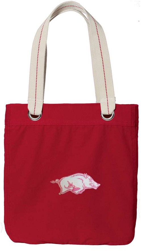 University of Arkansas Rich RED Cotton Tote Bag Pink Razorback Logo