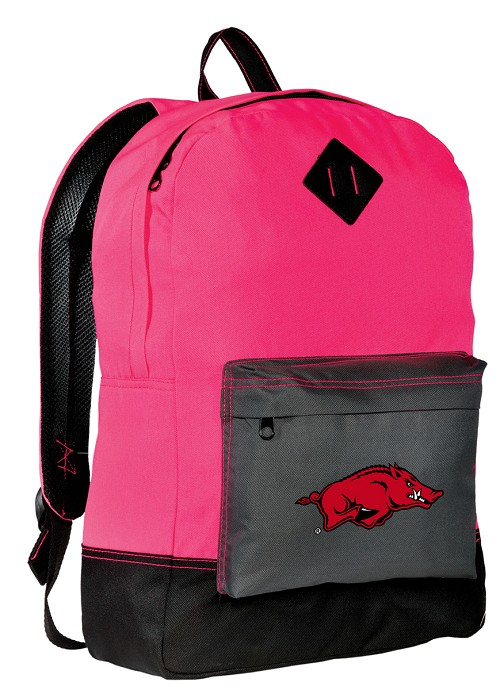 University of Arkansas Razorbacks Neon PINK Backpack