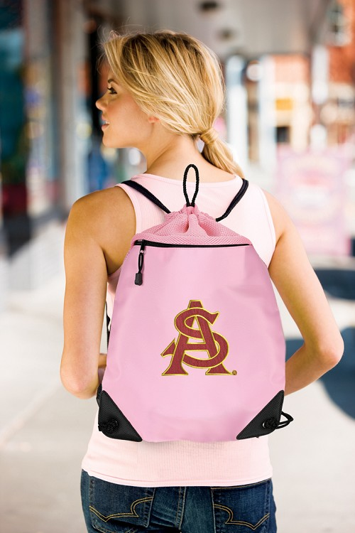 ASU Logo Pink Drawstring Bag Backpack