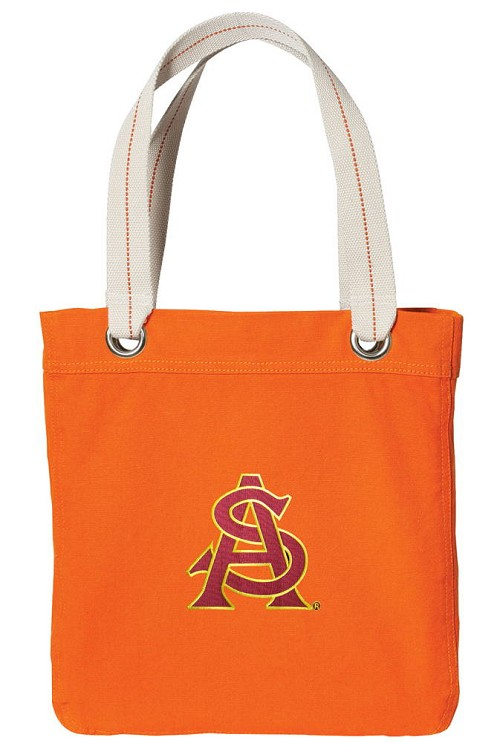 ASU Logo NEON Orange Cotton Tote Bag