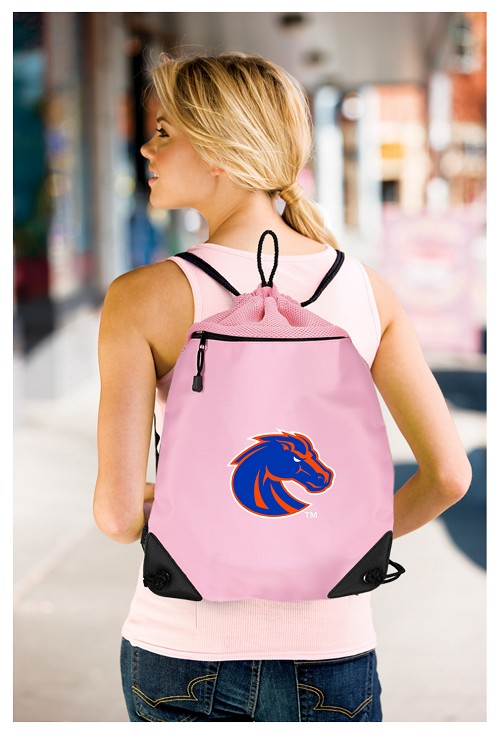 Boise State Pink Drawstring Bag Mesh & Microfiber Backpack