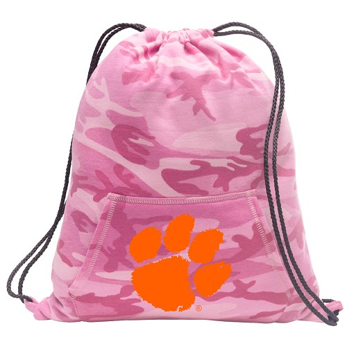 Clemson Drawstring Backpack Pink Camo