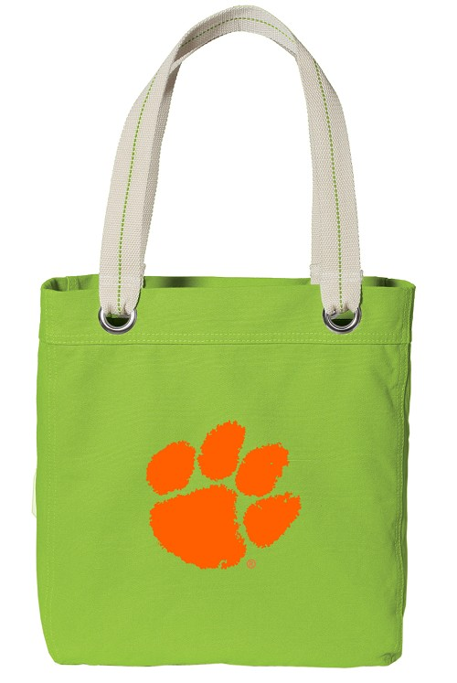Clemson NEON Green Cotton Tote Bag