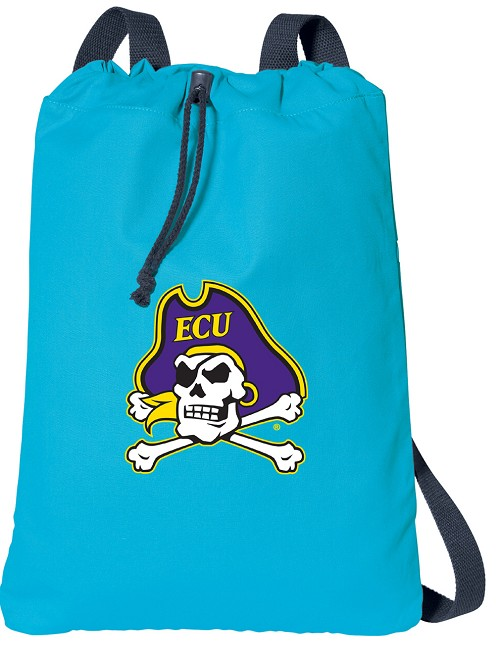 ECU Pirates Cotton Drawstring Bags Turqoise