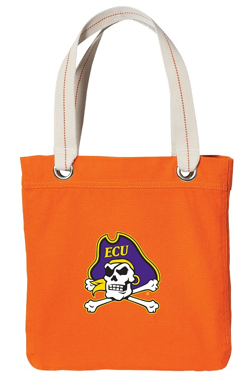 ECU Pirates NEON Orange Cotton Tote Bag
