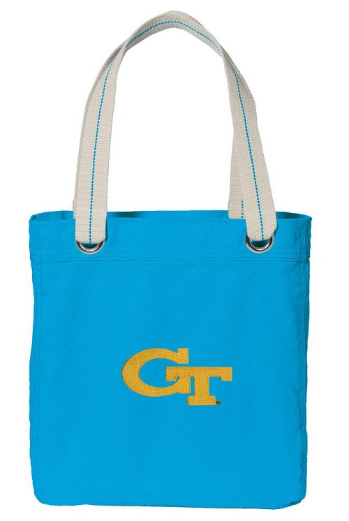 Georgia Tech NEON BLUE Cotton Tote Bag