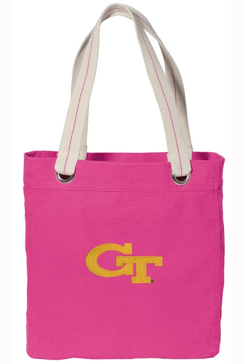 Georgia Tech NEON PINK Cotton Tote Bag
