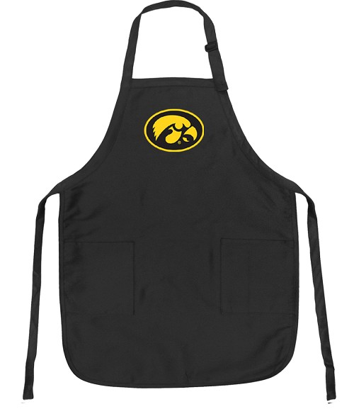 University of Iowa Hawkeyes Apron NCAA College Logo Black