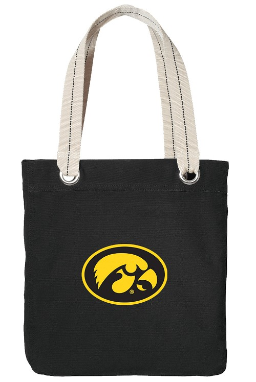 University of Iowa Hawkeyes Black Cotton Tote Bag