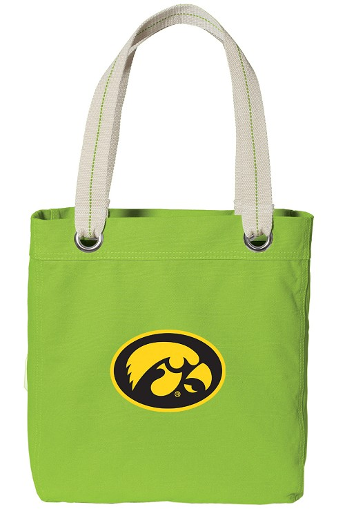 University of Iowa Hawkeyes NEON Green Cotton Tote Bag