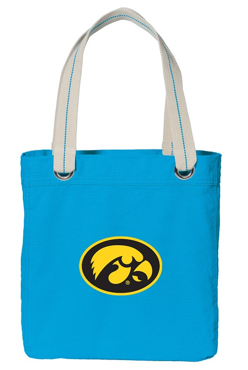 University of Iowa Hawkeyes NEON BLUE Cotton Tote Bag