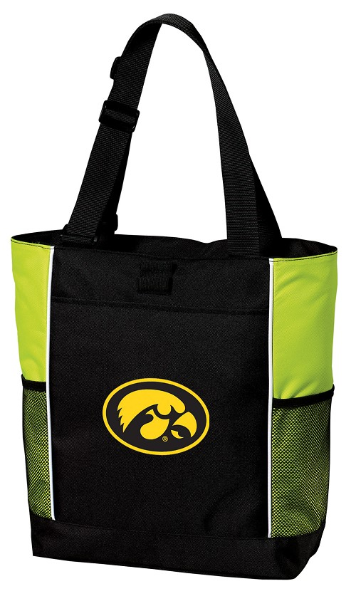 University of Iowa Hawkeyes Neon Green Tote Bag