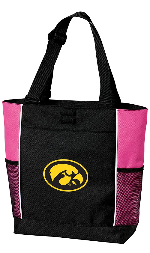 University of Iowa Hawkeyes Neon Pink Tote Bag