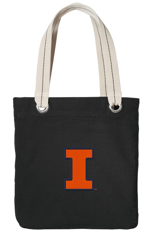 University of Illinois Illini Black Cotton Tote Bag