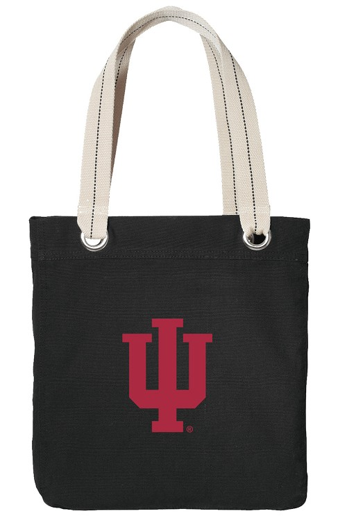 IU Indiana University Tote Bag RICH COTTON CANVAS Black