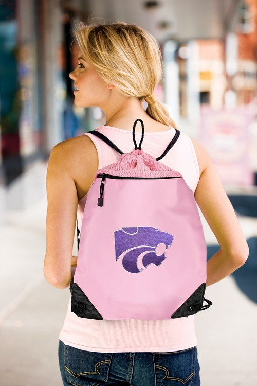 Kansas State University Pink Drawstring Bag Backpack