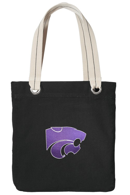 Kansas State University Black Cotton Tote Bag