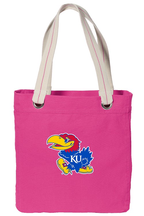 University of Kansas NEON PINK Cotton Tote Bag