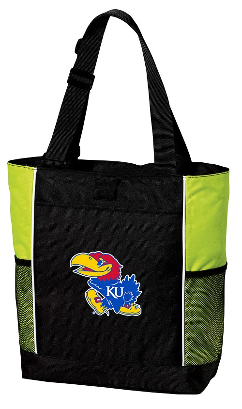University of Kansas Neon Green Tote Bag