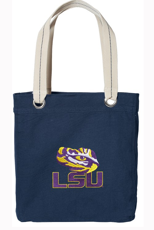 LSU Tiger Eye Rich NAVY Cotton Tote Bag