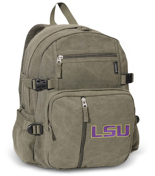 LSU Tigers Canvas Backpack Olive