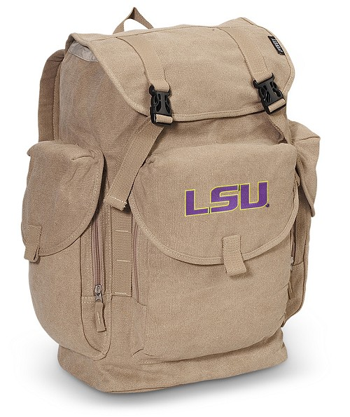 LSU Tigers LARGE Canvas Backpack Tan