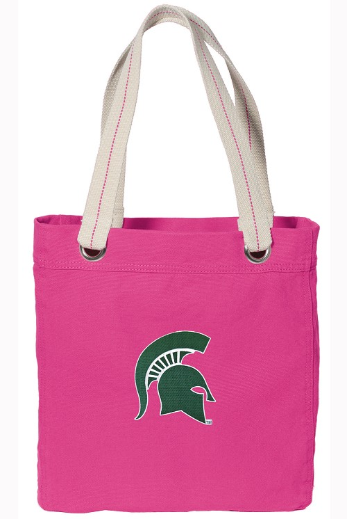 Michigan State University NEON PINK Cotton Tote Bag