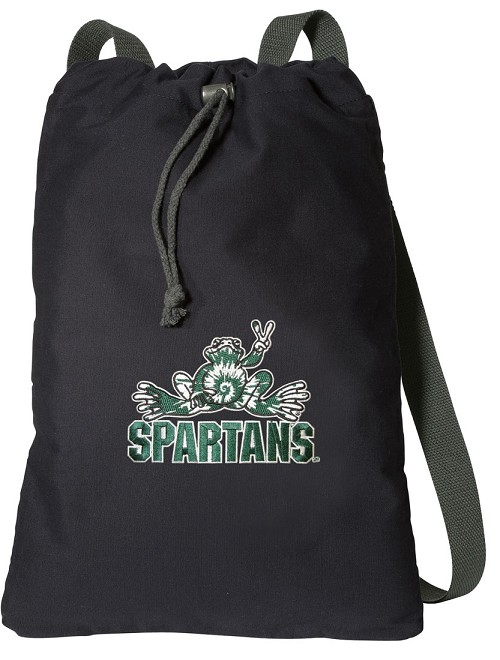 Michigan State Peace Frog Cotton Drawstring Bag