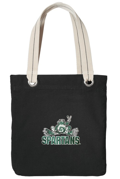 Michigan State Peace Frog Black Cotton Tote Bag