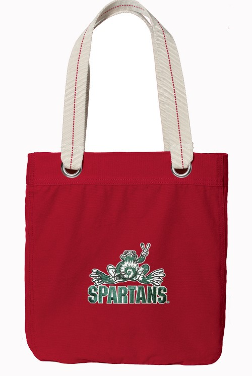 Michigan State Peace Frog Rich RED Cotton Tote Bag