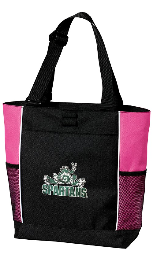 Michigan State Peace Frog Neon Pink Tote Bag