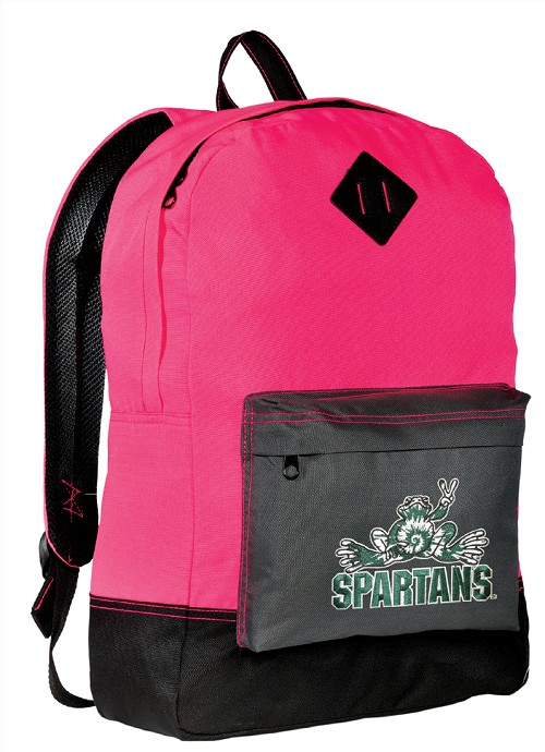 Michigan State Peace Frog Neon PINK Backpack