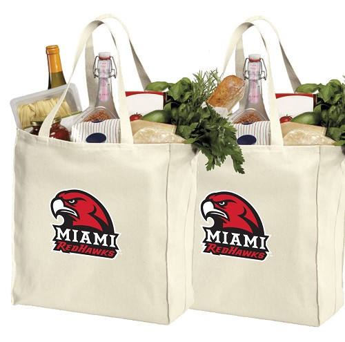 Miami University Redhawks Cotton Shopping Grocery Bags 2 PC SET