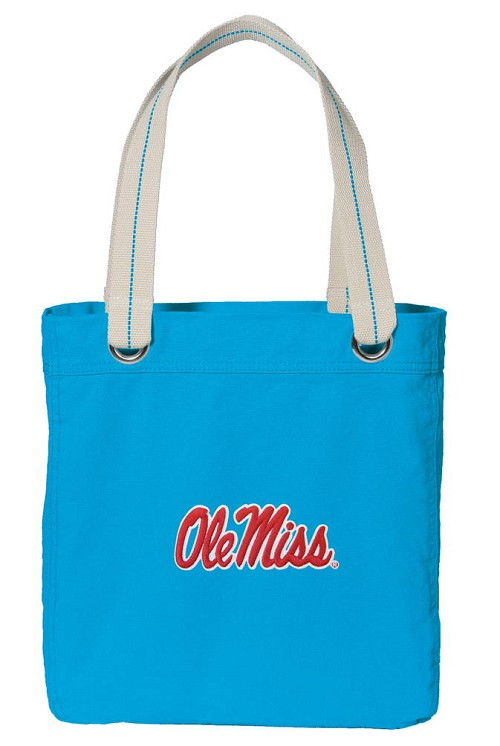 Ole Miss University of Mississippi NEON BLUE Cotton Tote Bag