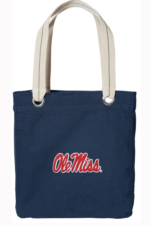 Ole Miss University of Mississippi Rich NAVY Cotton Tote Bag