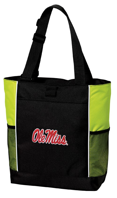 Ole Miss Neon Green Tote Bag
