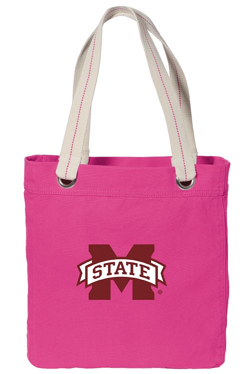 Mississippi State University NEON PINK Cotton Tote Bag