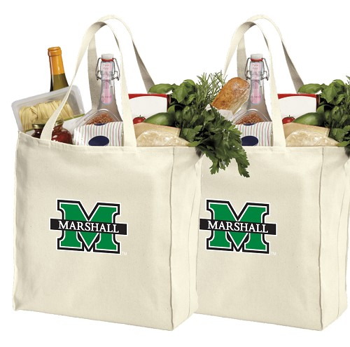 Marshall University Cotton Shopping Grocery Bags 2 PC SET