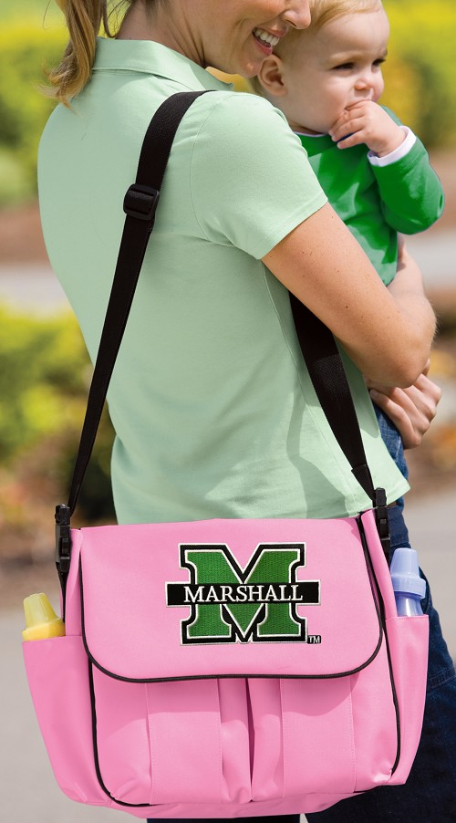 Marshall University Pink Diaper Bag