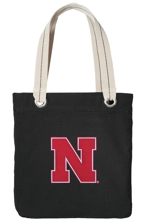 University of Nebraska Tote Bag RICH COTTON CANVAS Black