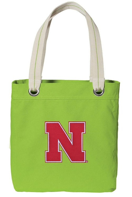 University of Nebraska Tote Bag RICH COTTON CANVAS Green