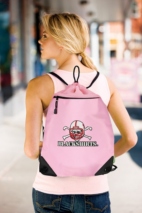Nebraska Blackshirts Pink Drawstring Bag Backpack